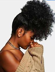 Недорогие -плетение волос Конскиехвостики Женский Натуральные волосы Волосы Наращивание волос Кудрявый 16 дюймы На каждый день / Черный