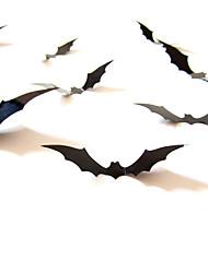 Недорогие -стикер стены 12 шт. черный 3d diy пвх летучая мышь стикер стены наклейка домой хэллоуин украшения