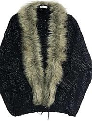 Недорогие -Жен. Однотонный Длинный рукав Кардиган, шаль Осень / Зима Черный / Верблюжий Один размер
