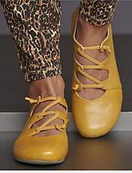 Недорогие -Жен. На плокой подошве На плоской подошве Круглый носок Кожа Лето Желтый / Красный / Синий