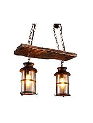 Недорогие -античный подвесной светильник цепи регулируемый фонарь люстра окружающего света окрашенные отделки прозрачного стекла оттенок столовая подвесные светильники