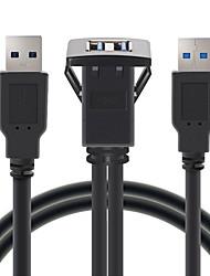 Недорогие -1 м разъем кабеля usb 3.0 авто скрытого монтажа между мужчинами и женщинами удлинитель приборной панели квадратная аудио линия для мотоцикла длина 1 метр