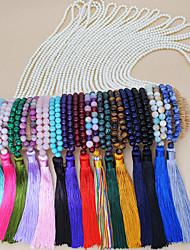 Недорогие -Жен. Многоцветный длинное ожерелье Жемчужные ожерелья С кисточками Богемные Этнический Мода Симпатичные Стиль Жемчуг Камень Черный Розовый с красным Темно-русый Темно-зеленый Светло-Зеленый 88 cm
