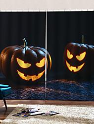 Недорогие -Хэллоуин тыква фонари на заказ готовый роскошный простой современный затенение ткани занавес для гостиной / спальни