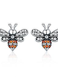 Недорогие -Высокое качество 100% стерлингового серебра 925 пчел история ясно cz изысканные серьги-гвоздики для женщин мода серебряные украшения sce344
