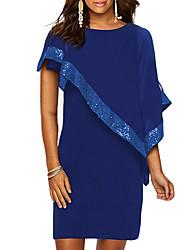Недорогие -Жен. Большие размеры Классический Тонкие Оболочка Платье - Однотонный, Пайетки Выше колена
