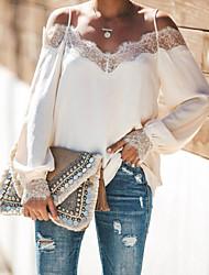 Недорогие -Жен. На выход Кружева Рубашка На бретелях Свободный силуэт Уличный стиль Однотонный Черный / Белый Черный