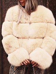 Недорогие -Жен. Повседневные / Для клуба Классический / Уличный стиль Осень / Зима Обычная Искусственное меховое пальто, Однотонный Круглый вырез Длинный рукав Искусственный мех Пэчворк Розовый / Бежевый