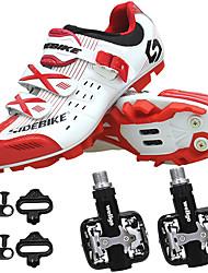 Недорогие -SIDEBIKE Взрослые Велообувь с педалями и шипами Обувь для горного велосипеда нейлон Дышащий Противозаносный Амортизация Велоспорт Red and White Муж. Обувь для велоспорта / Автоматическая блокировка