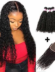 abordables -3 paquets avec fermeture Cheveux Brésiliens Kinky Curly Cheveux Naturel humain Cheveux humains Naturels Non Traités Casque Tissages de cheveux humains Bundle cheveux 8-20 pouce Couleur naturelle
