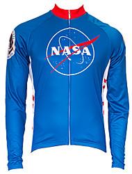 Недорогие -21Grams Американский / США НАСА Муж. Длинный рукав Велокофты - Красный + синий Велоспорт Верхняя часть Устойчивость к УФ Дышащий Влагоотводящие Виды спорта Терилен / Слабоэластичная