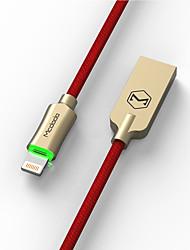 Недорогие -Макдодо рыцарь серии нейлоновой оплеткой автоматическое отключение молнии 8pin USB синхронизации данных кабель для зарядки