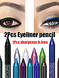 billige -2stk farverigt pigment langvarigt vandtæt eyeliner blyant mode øjenmakeup kosmetik