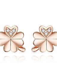 Недорогие -серьги-гвоздики с четырьмя листьями клевера для женщин, розовое золото, серебро 925 пробы, свадебные украшения для детей, противоаллергические