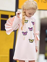 povoljno -Dijete koje je tek prohodalo Djevojčice Aktivan Životinja Print Dugih rukava Iznad koljena Haljina Blushing Pink