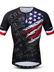 hesapli -JPOJPO Amerikan / ABD Ulusal Bayrak Erkek Kısa Kollu Bisiklet Forması - Siyah Bisiklet Forma Üstler Nefes Alabilir Nem Emici Hızlı Kuruma Spor Dalları Polyester Elastane Terylene Dağ Bisikletçiliği