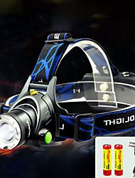 Недорогие -TD286 Налобные фонари Фары для велосипеда Водонепроницаемый Перезаряжаемый 800 lm Светодиодная лампа Cree® T6 1 излучатели с батарейками и зарядным устройством / Алюминиевый сплав