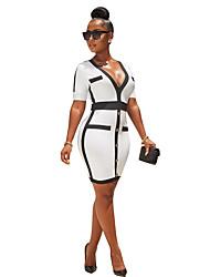 Недорогие -Жен. Изысканный Элегантный стиль Оболочка Платье - Однотонный, Пэчворк До колена Черное и белое