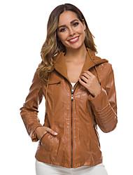 Недорогие -Жен. Повседневные Обычная Кожаные куртки, Однотонный Капюшон Длинный рукав Полиуретановая Черный / Серый / Хаки