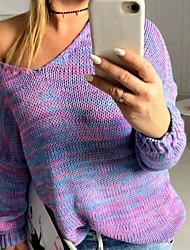 Недорогие -Жен. Геометрический принт Длинный рукав Пуловер, V-образный вырез Лиловый / Красный / Коричневый S / M / L