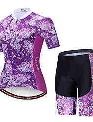 billige -EVERVOLVE Dame Kortærmet Cykeltrøje og shorts Lyseblå Cykel Sport Bomuld Patchwork Bjerg Cykling Vej Cykling Tøj / Avansert / Høj Elasticitet / triathlon