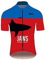 Недорогие -21Grams JAWS Кино Муж. С короткими рукавами Велокофты - Красный + синий Велоспорт Джерси Верхняя часть Дышащий Быстровысыхающий Со светоотражающими полосками Виды спорта 100% полиэстер / троеборье