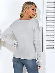 Недорогие -Жен. Однотонный Длинный рукав Свободный силуэт Пуловер, V-образный вырез Хлопок Черный / Зеленый / Бежевый S / M / L