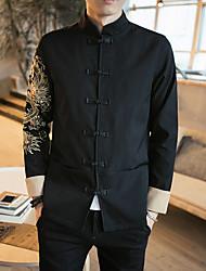Недорогие -Муж. Повседневные Шинуазери (китайский стиль) Обычная Куртка, Геометрический принт Воротник-стойка Длинный рукав Полиэстер Черный