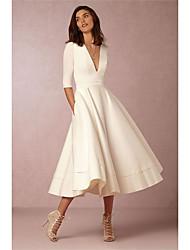 Недорогие -А-силуэт V-образный вырез До щиколотки Сатин Свадебные платья Made-to-Measure с Рюши от LAN TING Express / Свадебные платья различных цветов