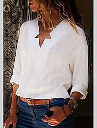 Недорогие -Жен. Большие размеры - Рубашка Хлопок, V-образный вырез Уличный стиль Однотонный Черный