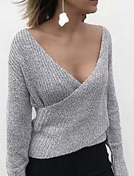 Недорогие -Жен. Однотонный Длинный рукав Пуловер, Глубокий V-образный вырез Синий / Темно-серый / Серый S / M / L