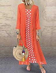 Недорогие -Жен. Из двух частей Платье - Горошек Средней длины