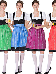 Недорогие -Октоберфест Широкая юбка в сборку Trachtenkleider Жен. Платье баварский Костюм Зеленый Красный Пурпурный