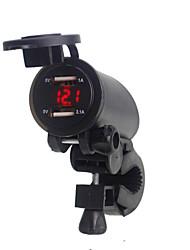 Недорогие -5v 3.1a мотоцикл двойной usb зарядное устройство крепление руля зажим со светодиодным цифровым дисплеем для мобильных телефонов iphone samsung и xiaomi
