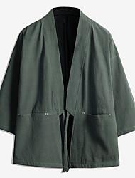billige -Herre Daglig Basale Normal Kimono Jakke, Ensfarvet Kraveløs Langærmet Polyester Sort / Vin / Army Grøn US36 / UK36 / EU44 / US38 / UK38 / EU46 / US42 / UK42 / EU50