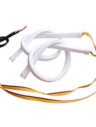 Недорогие -2 шт. Drl течет гибкая светодиодная трубка полосы 30 см 45 см 60 см дневные ходовые огни указатель поворота глаза ангела работает из светодиодов стайлинга автомобилей