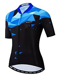 hesapli -JPOJPO Kadın's Kısa Kollu Bisiklet Forması Mavi Yenilik Bisiklet Forma Üstler Nefes Alabilir Hızlı Kuruma Spor Dalları Polyester Elastane Terylene Dağ Bisikletçiliği Yol Bisikletçiliği Giyim / Likra