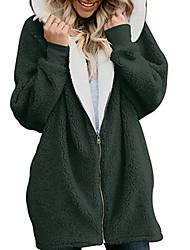 Недорогие -Жен. Повседневные Зима Длинная Пальто, Однотонный Капюшон Длинный рукав Полиэстер Верблюжий / Серый / Хаки / Свободный силуэт