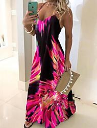 Недорогие -Жен. Тонкие Оболочка Платье - Геометрический принт На бретелях Макси