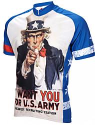 Недорогие -21Grams Ретро Американский / США Дядя Сэм Муж. С короткими рукавами Велокофты - Синий / белый Велоспорт Джерси Верхняя часть Дышащий Влагоотводящие Быстровысыхающий Виды спорта Терилен / Флаги