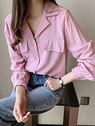 Недорогие -Жен. Рубашка Классический Однотонный Белый