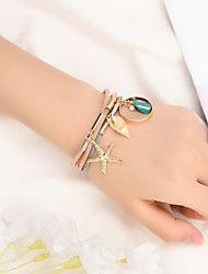 billige -Dame Smaragd Vedhend Armband Multi Layer Skall Kunstnerisk Enkel Punk Leather Armbånd Smykker Regnbue Til Daglig Karneval Skole