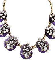 billige -Dame Krystall Halskjede geometriske Blomst Punk Zirkonium Chrome Lys Lilla 45+5 cm Halskjeder Smykker 1pc Til Ferie