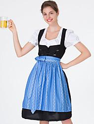 Недорогие -Октоберфест Широкая юбка в сборку Trachtenkleider Жен. Платье баварский Костюм Синий Зеленый Красный