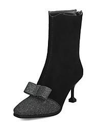 Недорогие -Жен. Ботинки На шпильке Квадратный носок Замша / Полиуретан Наступила зима Черный / Бежевый / Серый