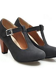 Недорогие -Жен. Обувь на каблуках На толстом каблуке Круглый носок Замша Лето Черный / Лиловый / Серый