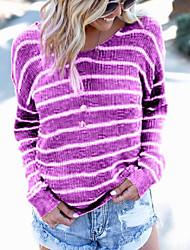billige -T-skjorte Dame - Stripet Grunnleggende Lilla