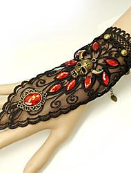 billige -Dame Rød Vintage Armbånd Ringarmbånd Øredobber / armbånd Vintage Stil Hodeskalle Statement Vintage trendy Gotisk Mote Harpiks Armbånd Smykker Svart Til Halloween Klubb