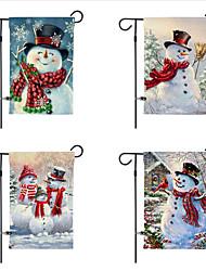 Недорогие -Рождественский сад флаг 30 * 45 см двухсторонний печатный снеговик белье двор украшения флаг