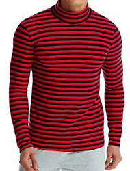 Недорогие -Муж. Размер ЕС / США - Рубашка Воротник-стойка Полоски Красный / Длинный рукав